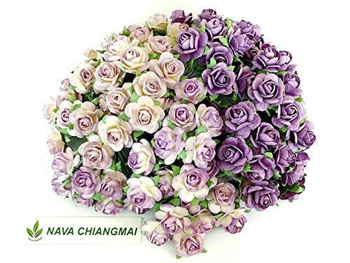 NAVA CHIANGMAI 100 pcs Rose 10 mm Purple Mulberry Paper Flowers handmade craft project cardmaking Floral Valentine ()