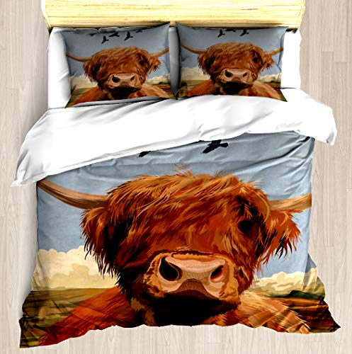 NTCBED Highland Cow - Duvet Cover Set Soft Comforter Cover Pillowcase Bed Set Unique Printed Floral Pattern Design Duvet Covers Blanket Cover Twin/XL Size