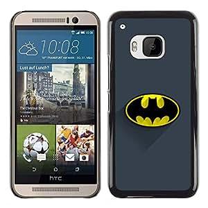 ROKK CASES / HTC One M9 / CLASSIC BAT LOGO / Delgado Negro Plástico caso cubierta Shell Armor Funda Case Cover