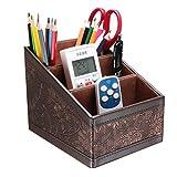 Multifunctional PU Leather Desktop Storage Office Desktop Organizer, Office Organizer, Desktop Caddy Remote Control Holder/Remote Control Caddy(Retro Flower)