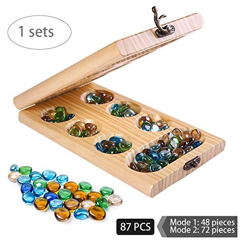 Mancala Board Games for Kids, Classic Sungka Game for Teens, Best Adult Travel Folding Wood Game Set with Pieces Marble Chess, Popular Family Educational Wooden Retro Stones Boards Table Games Sets ()