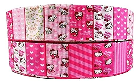 "1 Metre Hello Kitty Pink Stripe Pattern Character Ribbon 1"" 25 Mm by Amazon"