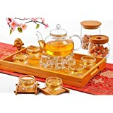TEA SET 600ML Heat Resistant Glass Including 6 Double-Wall Cups + Warmer + 5 Candles