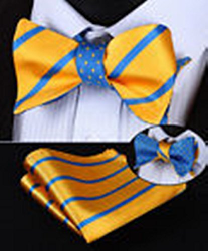 [Mondaily DL03Y Yellow Blue Stripe Men Double Sided Self Bow Tie Pocket Square Set #PPTE4681] (Cats Musical Halloween Costumes)