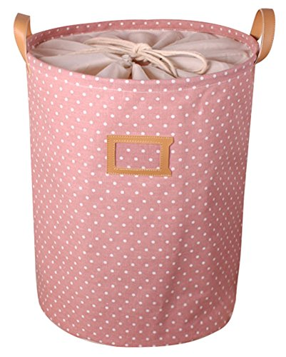 Pauler Vickers Wasserdichte Baumwolle Leinen Aufbewahrungstasche Wäsche waschen Wäschekorb (Rosa)
