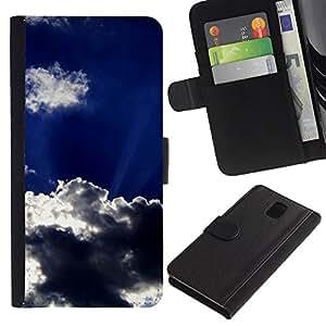SAMSUNG Galaxy Note 3 III / N9000 / N9005 Modelo colorido cuero carpeta tirón caso cubierta piel Holster Funda protección - Sun Clouds God Inspiring Sky Summer
