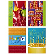 Assorted Birthday Greeting Cards, Hallmark (Bright Icons, 12 Cards and Envelopes)