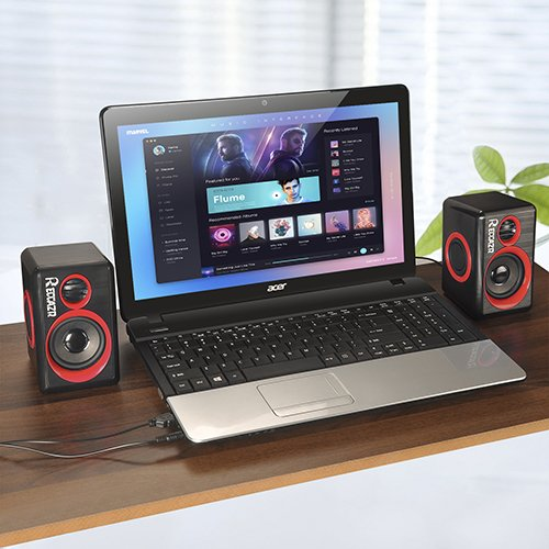 Surround Computer Speakers With Deep Bass USB Wired Powered Multimedia Speaker for PC/Laptops/Smart Phone RECCAZR Built-in Four Loudspeaker Diaphragm by RECCAZR (Image #6)'
