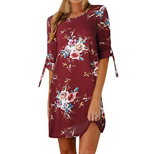 Rcool girocollo Abito manica stampa con Vestito Donna Elegante corta di Rosso floreale moda Stampa Rqrr8YXw
