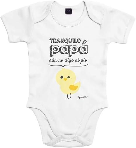 SUPERMOLON Body bebé algodón Tranquilo papá, aún no digo ni pío 3 ...