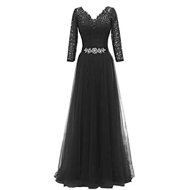 Womens Prom Long Cocktail Evening Dresses Lace 2/3 Sleeves V-Neck Backless Elegant