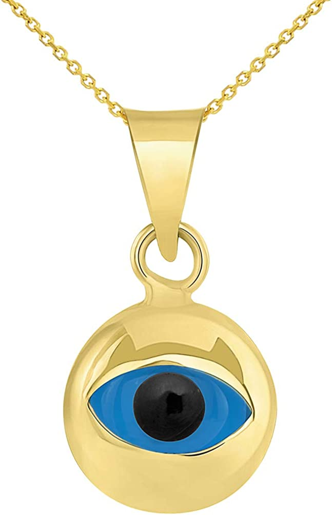 14k Yellow Gold Small Round Shaped Blue Evil Eye Pendant Necklace
