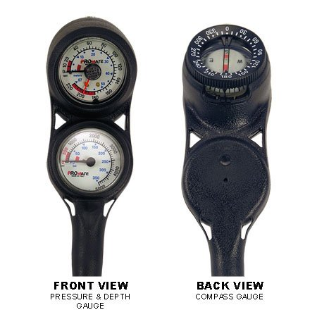 Promate Mini Scuba Diving Pressure and Depth Gauge with Compass Console (Made in - Mini Console Gauge