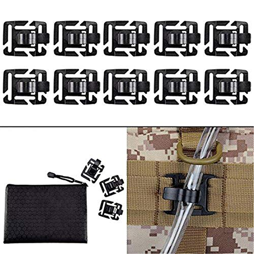 BOOSTEADY Pack of 10 Tactical Military Hydration Tube Clips Water Tube Clip MOLLE Webbing Attachment 360°Rotatable