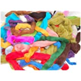 Assorted wool roving off-cuts