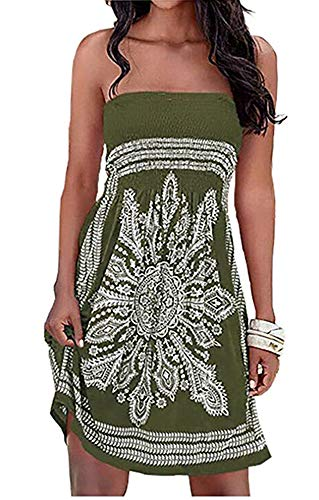 Womens Coverup Beach Dress Strapless Summer Bohemian A line Casual Fashion Sundresses(Army Green,XL) (Backless Skirt)