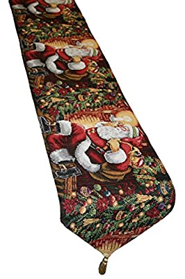 "Holiday Christmas Poinsettia Design 13"" X 70"" Table Runner"