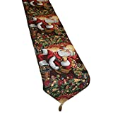 "Violet Linen Decorative Christmas Tapestry Table Runner, 13"" x 70"", Santa Claus Design"