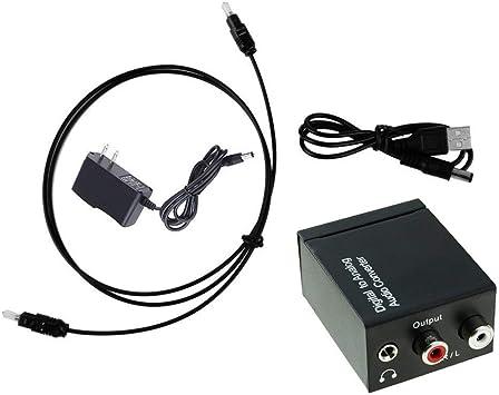 Aprigy - Adaptador de Audio Digital a analógico Toslink coaxial óptico a RCA R/L de 3,5 mm con Cable óptico 2: Amazon.es: Electrónica