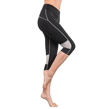 623ef94a8c715 Leggings, Womens Girls Yoga Pants Elasticity Exercise Running Sports Capri  Trousers (Black, S