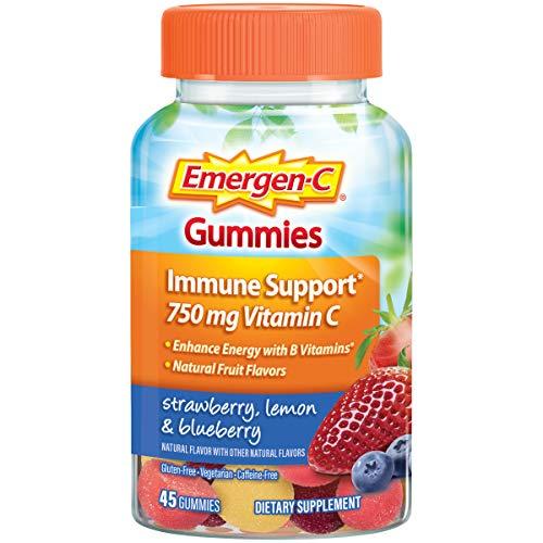 Emergen-C Gummies Vitamin C 750mg Immune Support (45 Count, Strawberry, Lemon And Blueberry Flavors), With B Vitamins, Gluten Free (C Children Emergen)
