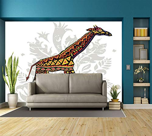Funky Wall Mural Sticker [ Batik Decor,African Savannah Giraffe Ethnic Ornament Patterns on Body Tall Creature Print,Multicolor ] Self-adhesive Vinyl Wallpaper / Removable Modern Decorating Wall Art