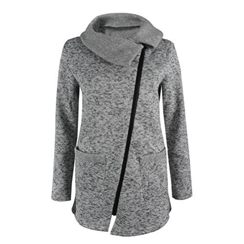 Hiver Femme Grey Sweat Fermeture Shirt À Capuche Long Éclair Manteau Casual Hoodie Sport Veste dAgAqwrU