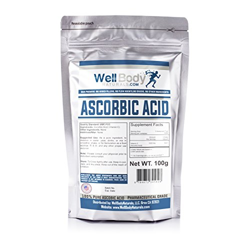 WellBodyNaturals Pure Ascorbic Acid (Vitamin C) Powder (100 grams)