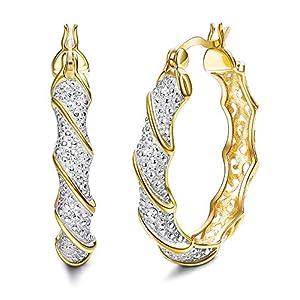 KesaPlan Swarovski Zircon Hoop Earrings for Women, Big Earrings Glitter Hoop Earrings Bohemian Sparkle Zircon Wrapped…