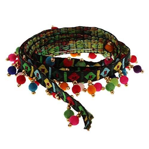 Ethnic Style Pompom Beads Fringe Trim Ribbon Sewing DIY Sewing Fabric Craft Handmade Decorative Jewelry 1 Yard- Black