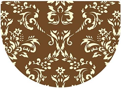 Premium Comfort Damask Half-Round Mat, 22 by 31-Inch, Walnut
