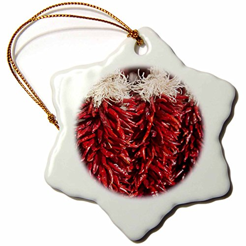 3dRose orn_92597_1 Red Chili Peppers, Market, Santa Fe, New Mexico US32 CHA0046 Chuck Haney Snowflake Ornament, Porcelain, 3-Inch by 3dRose