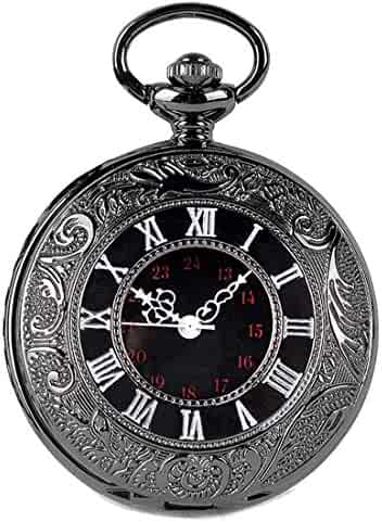 SwitchMe Vintage Pocket Watch Classic Roman Numerals with Belt Clip Chain Black