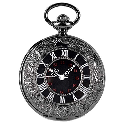 SwitchMe Vintage Pocket Watch Classic Roman Numerals with Belt Clip Chain Black]()