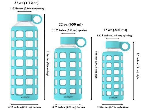 purifyou Premium Glass Water Bottle with Silicone Sleeve and Stainless Steel Lid, 12 / 22 / 32 oz (6 Pack, 22 oz) by purifyou (Image #2)