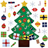 Outgeek Felt Christmas Tree, 3.2ft DIY Christmas Tree with 28 Pcs Ornaments Wall Decor with Hanging Rope for Kids Xmas Gifts Home Door Decoration