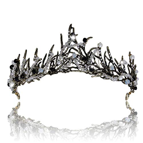 Wedding Tiara Bride Crown Flower Crown Crystal Gold Crown Princess Tiara for Women Girls (black) ()