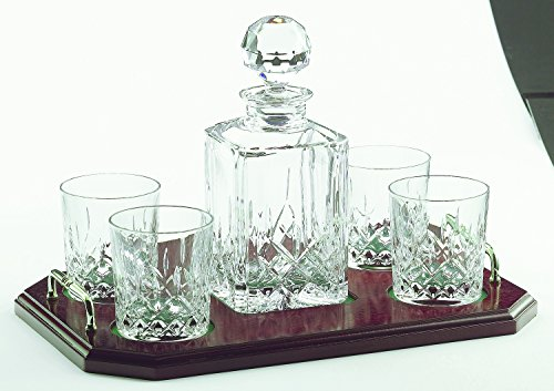 (Irish Galway Crystal Square Whiskey Decanter & 4 Glasses Tray Set from the Longford Range )