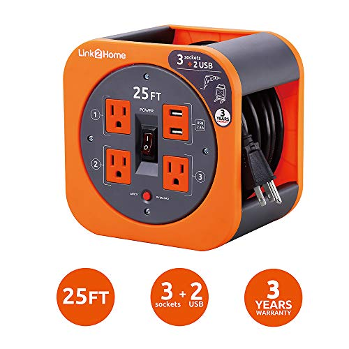 Link2Home Cord Reel 25 ft. Extension Cord 4 Power Outlets, 2 USB Ports, 2.4A Fast Charge - 16 AWG SJT Cable. (Extension Cord Reel 25)