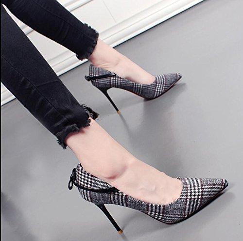KHSKX-Schwarzer 9 Cm Raster Einzelne Schuhe Winter Neue Tipp Licht Fliege Mit Dünnen Schuhe Mit Hohen Absätzen Und 38 Weibliche