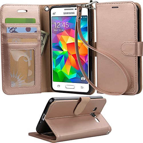 Price comparison product image Grand Prime Case, Arae Samsung Galaxy Grand Prime wallet case,[Wrist Strap] Flip Folio [Kickstand Feature] PU leather wallet case with ID&Credit Card Pockets For Samsung Galaxy Grand Prime (Rosegold)