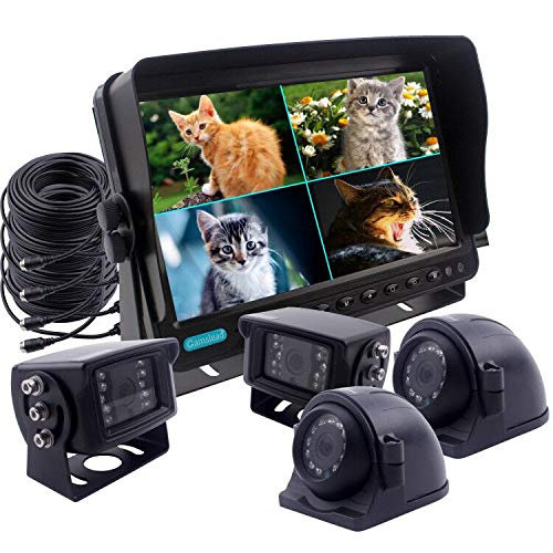 CAMSLEAD Heavy Vehicle Safety Camera System 9 inch Monitor with Quad Split Screen, 2 x Side Cameras + 2 x Backup Camera, Colour IP69K &10G Vibration Side Camera Backup Camera Rear View Camera System