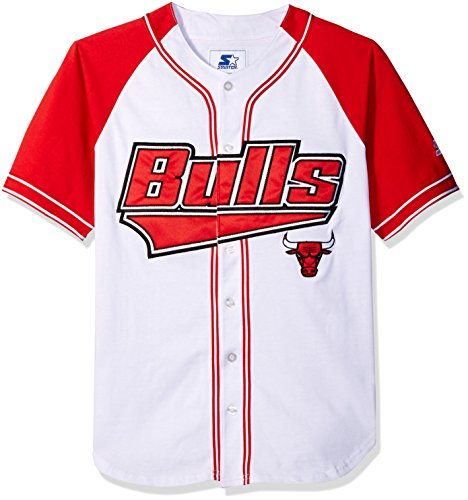NBA Chicago Bulls Baseball Inspired Fashion Jersey, Medium, White (Nba Starter)