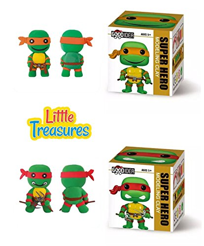 Ninja Turtle Set of 2 Clay modeling and sculpting DIY play-sets create a cartoon Hero characters with molding play-dough kit - a fun arts and craft children toy project clean safe - Non-toxic -