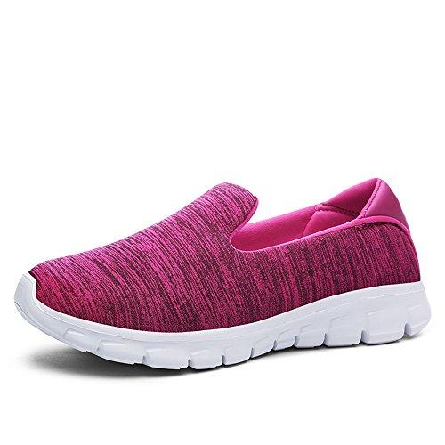JACKSHIBO Damen Low-Top Mesh Sneakers Leicht Komfort Freizeitschuhe Weich Footwear Rot
