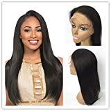 "JYL Hair Straight Brazilian Virgin Hair 360 Lace Frontal Wig Glueless Pre Plucked Hairline Human Remy Hair Wig Bleached Knots 150% Natural Color Baby Hair for Black Woman (20"" 150%, Natural Color) For Sale"