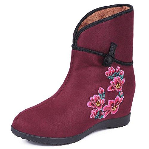 KHSKX-El Aumento En El Folk Estilo Caliente Botas Botas De Zapatos De Mujer Zapatos De Mujer De Algodón Bordado gules