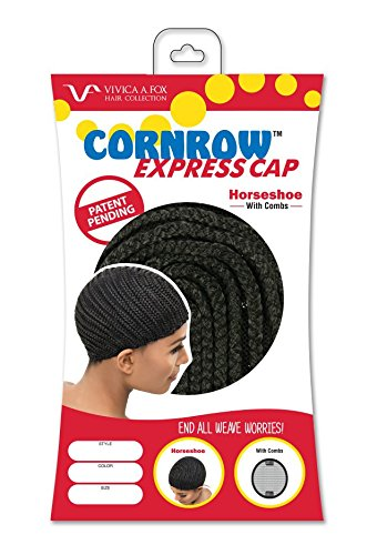 [Vivica A Fox Hair Collection Cornrow Express Cap, Horse Shoe Type with Combs, 1B, Small, 2 Ounce] (Cornrow Wigs)