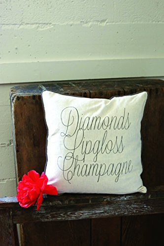 "Creative Co-Op Cotton ""Diamonds, Lipgloss, Champagne"" Pillow"