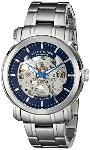 Stuhrling Original Men's 387.33116 Delphi Automatic Skeleton Blue Dial Stainless Steel Watch